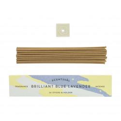 Box of 30 incense sticks with incense holder, SCENTSUAL BRILLANT BLUE LAVENDER, Lavender