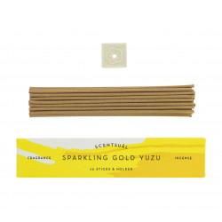 Box of 30 incense sticks with incense holder, SCENTSUAL SPARKLING GOLD YUZU, Lemon Yuzu