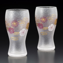 Set of 2 Japanese beer glasses, PREMIUM SAKURASUIMON