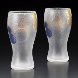 Set of 2 Japanese beer glasses, PREMIUM MUBYOUTAN