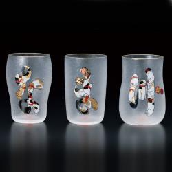 Set di 3 bicchieri giapponesi motivi a forma di gatto NAMAZU EDONEKO