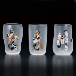 Set of 3 Japanese glasses with cat patterns, NAMAZU EDONEKO