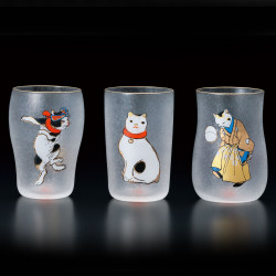 Japanese three glasses set with cats patterns NEKO EDONEKO