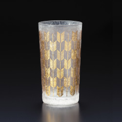 Japanese glass with yagasuri pattern - WAKOMON