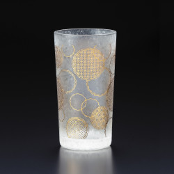 Japanese glass with yukiwa pattern - WAKOMON