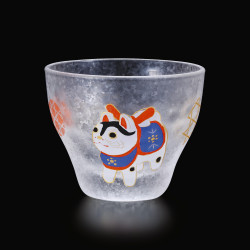 Bicchiere per sake giapponese con motivo cane - GARASU INU
