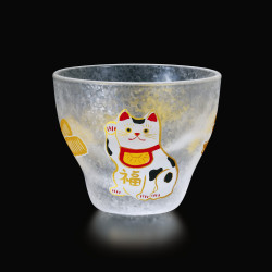Japanese sake glass with manekineko motif - GARASU MANEKINEKO