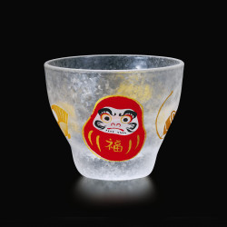 Japanese sake glass with daruma motif - GARASU DARUMA