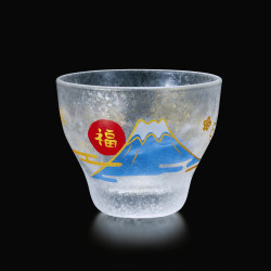 Japanese sake glass with Mt.Fuji motif - GARASU FUJISAN