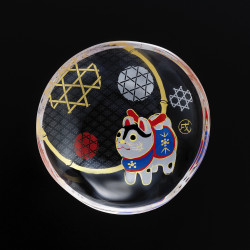 small Japanese mamesara glass plate with dog motif - MAMESARA