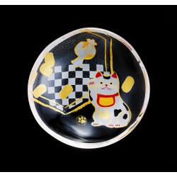 small Japanese mamesara glass plate with manekineko motif - MAMESARA