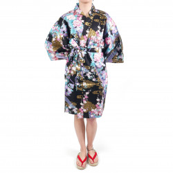 hanten kimono traditionnel japonais noir en coton satiné petite princesse pour femme