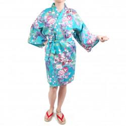 hanten kimono traditionnel japonais Turquoise en coton satiné petite princesse pour femme