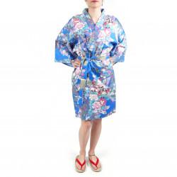 hanten kimono traditionnel japonais bleu en coton satiné petite princesse pour femme