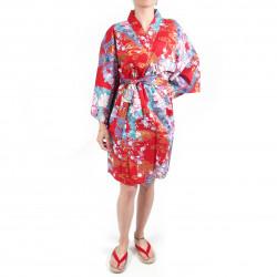 hanten kimono traditionnel japonais rouge en coton satiné petite princesse pour femme