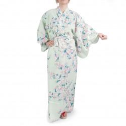 kimono yukata traditionnel japonais turquoise en coton fleurs de cerisiers blanches pour femme