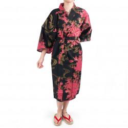 Happi traditioneller japanischer Kimono aus schwarzer Baumwolle und Pfingstrose für Frauen