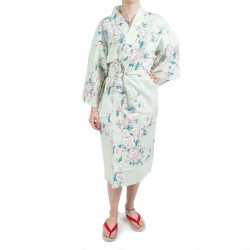 Happi traditionelle japanische türkisfarbene Baumwolle Kimono weiße Kirschblüten für Frauen