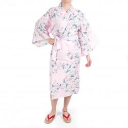 happi kimono traditionnel japonais rose en coton fleurs de cerisiers blanches pour femme