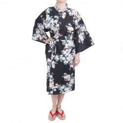 happi kimono traditionnel japonais noir en coton fleurs de cerisiers blanches pour femme