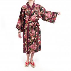 happi kimono traditionnel japonais noir en coton chrysanthèmes fleuris pour femme