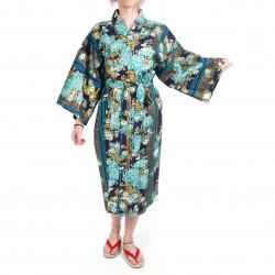 happi kimono traditionnel japonais bleu en coton chrysanthèmes fleuris pour femme