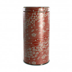 Japanese red metal tea caddy, KANTARO SHIKI, 200 g