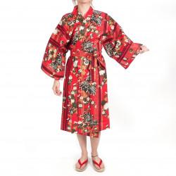 happi kimono traditionnel japonais rouge en coton chrysanthèmes fleuris pour femme