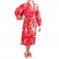 happi kimono traditionnel japonais rouge en coton princesse cerisier pour femme