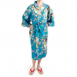 happi kimono traditionnel japonais turquoise en coton princesse cerisier pour femme
