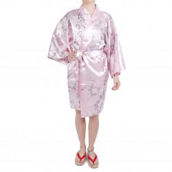 Hanten traditioneller japanischer rosa Kimono in Satin Poesie und Blumen für Frau