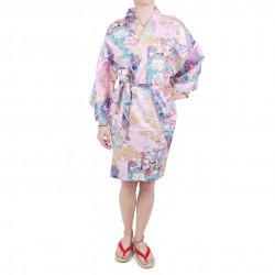 hanten kimono traditionnel japonais rose en coton satiné petite princesse pour femme