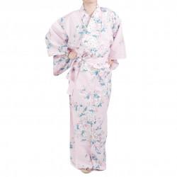 Flores de cerezo blancas japonesas tradicionales de kimono yukata rosa de algodón para mujeres