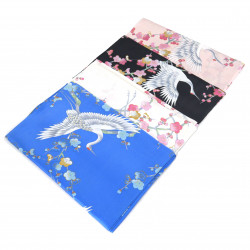 Silk, plum and crane scarf, UME TO TSURU