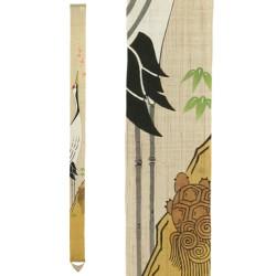 Fine tapisserie japonaise en chanvre peinte à la main, TSURUKAME SENMAN, La Grue et la Tortue