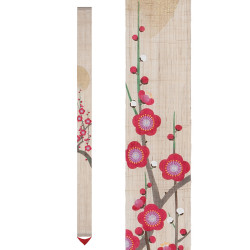 Fine hand-painted Japanese hemp tapestry, AKATOKI NO UME, Morning plum
