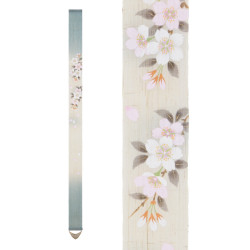 Fine Japanese tapestry in hemp, hand painted, SATOZAKURA, Cherry blossom