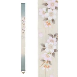 Fine tapisserie japonaise en chanvre peinte à la main, SATOZAKURA, Fleur de Cerisier