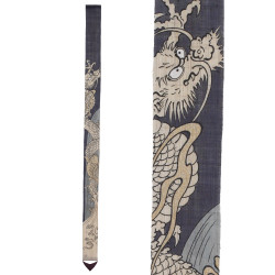 Fine Japanese tapestry in hemp, hand painted, TORYUMON, Passage