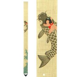 Fine tapisserie japonaise en chanvre peinte à la main, KOINORI KINTARO, Kintaro Chevauchant une Carpe