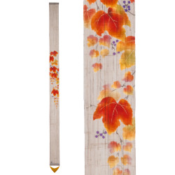 Fine hand-painted Japanese hemp tapestry, AKITSUTA, autumnal vine