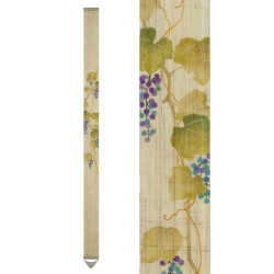 Fine Japanese tapestry in hemp, hand painted, YAMABUDO, mountain grape