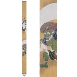 Fine tapisserie japonaise en chanvre peinte à la main, FUJIN RAIJIN