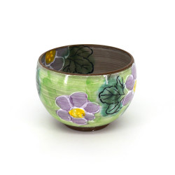 Japanese ceramic rice bowl, BOTAN, green and mauve, flowers