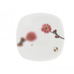 Japanese square ceramic incense holder, YUME SAKURA, cherry blossom