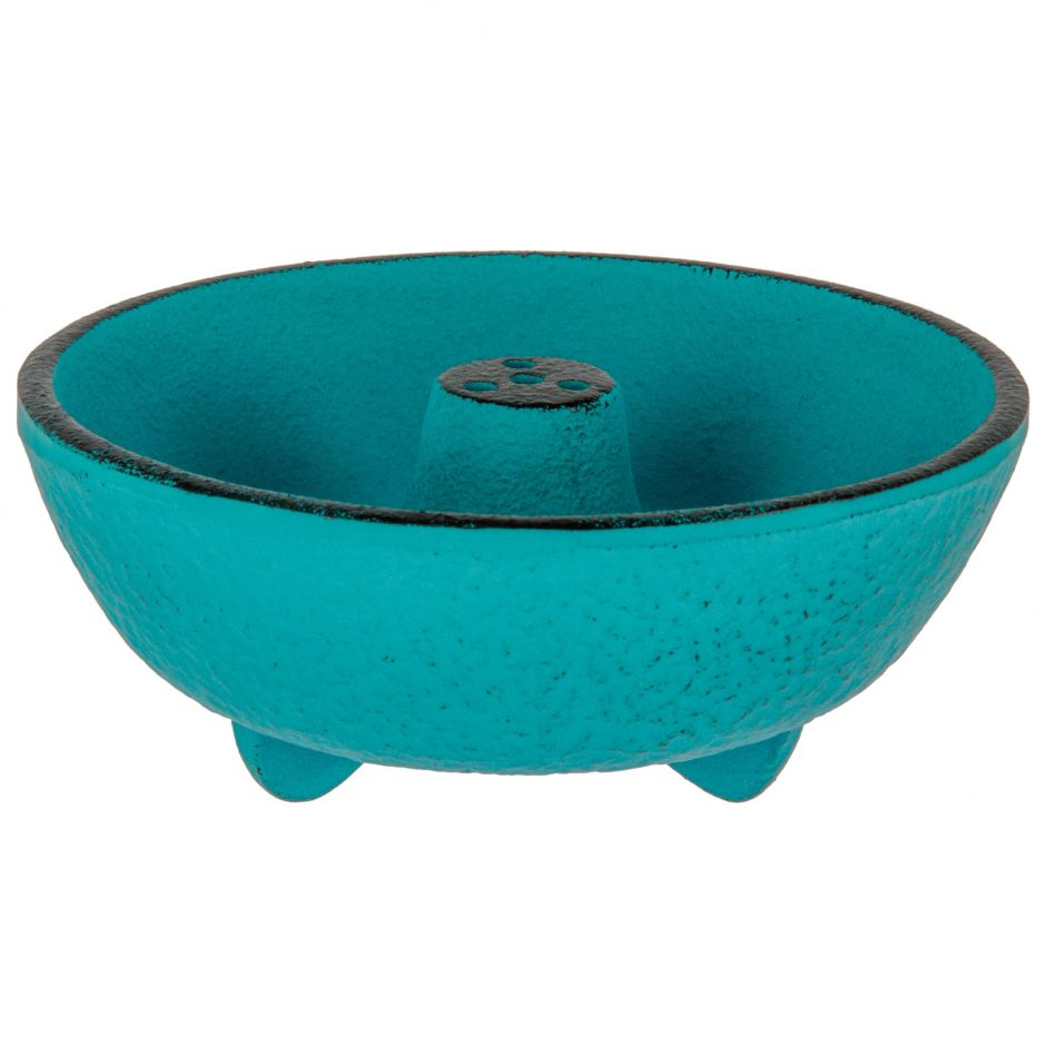 Incense burner in turquoise cast iron, IWACHU, fountain