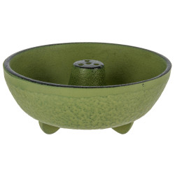 Green cast iron incense burner, IWACHU, fountain