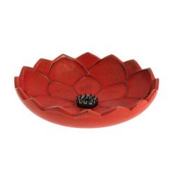 Japanese red cast iron incense burner, IWACHU LOTUS, lotus flower