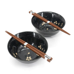 Set de 2 bols japonais en céramique - KURO NSAKURA