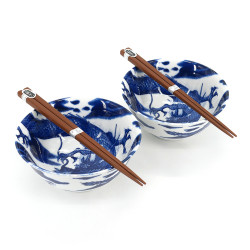 Set of 2 Japanese ceramic bowls - KURO SAKURA